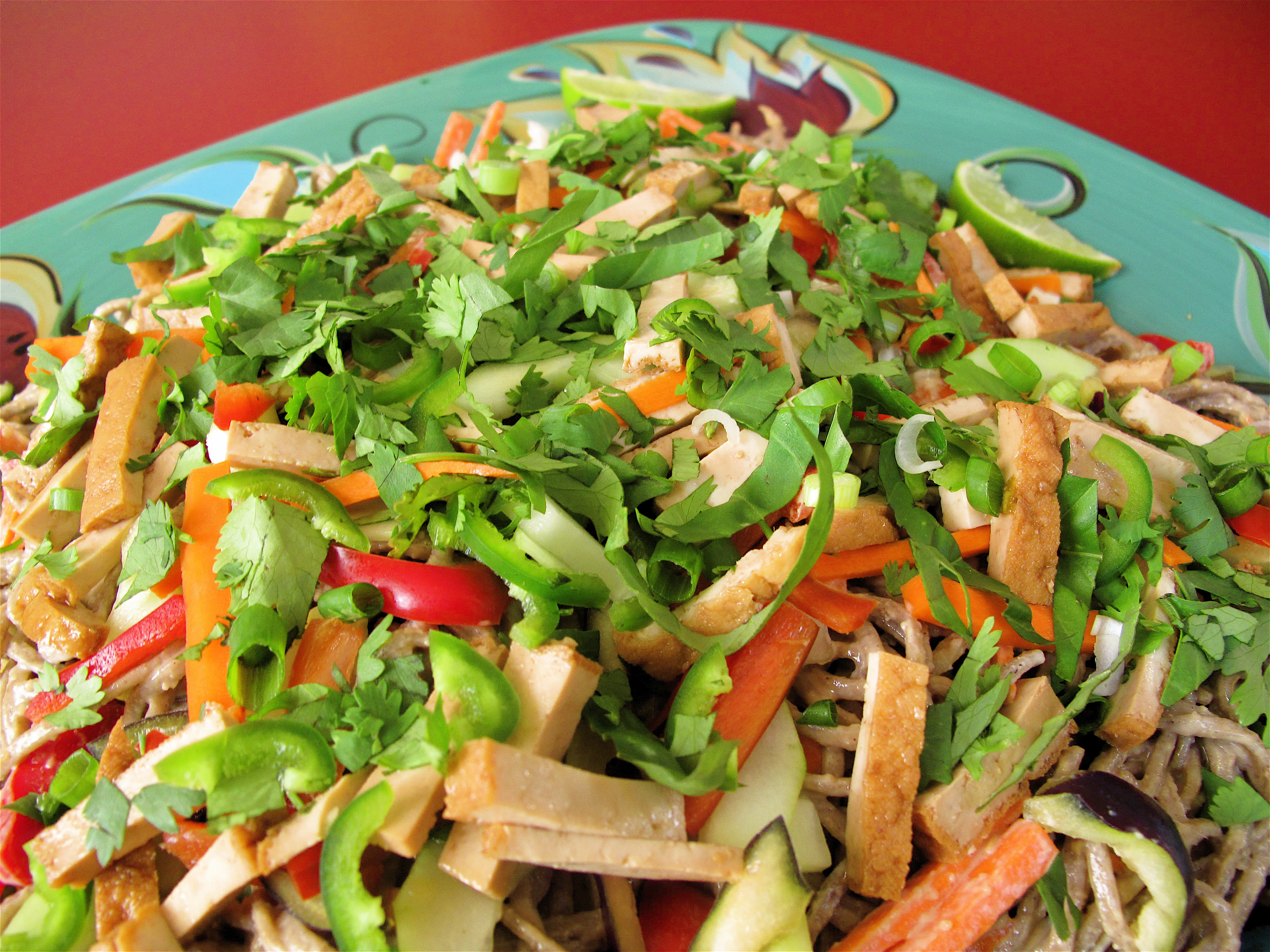 Asian Noodle Salad with Gingery Garlicy Cashew Dressing
